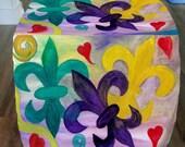 Mardi Gras Fleur de lis furniture cube ottoman from my art