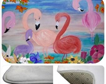 Flamingo garden tropical bathmat from my art