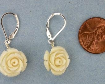 Carved Stone Rose Earrings
