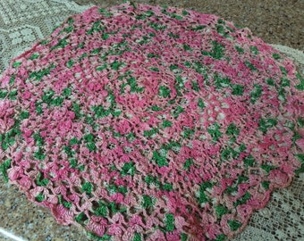 Vintage Round Pink and Green Doily