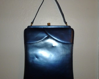 Vintage 40's - I. Lampert -  Beautiful - Metallic or Pearly Blue - Leather - Brass Hardware - Handbag - with original hand mirror