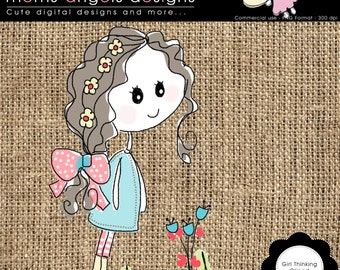 Cute Girl Thinking clipart - COMMERCIAL USE OK