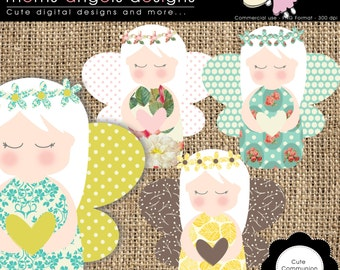Cute communion angel cliparts - COMMERCIAL USE OK