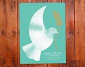Sufjan Stevens Poster, Dove Record, Vinyl, Gigposter, Dove Art Print, Music Art, Durham North Carolina, Concert Poster, Home Decor
