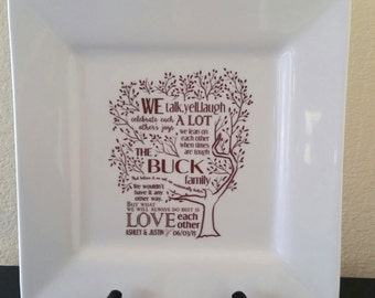 Parent Wedding Gift--Family Poem Thank You Platter from Bride and Groom RUSH LISTING