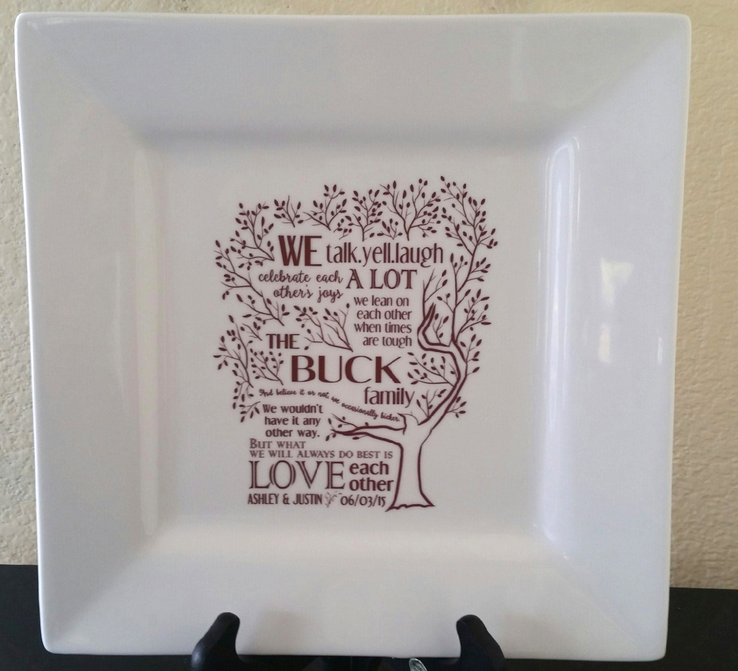 Parent Wedding GiftFamily Poem Thank You Platter from Bride