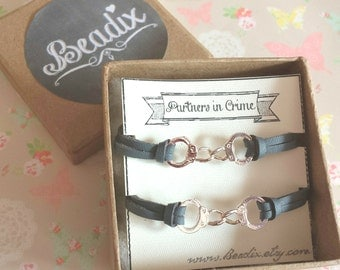 Partners in Crime. Bracelets. Best Friends, Couple, BFF, mother and daughter gift idea. Unisex bracelets.