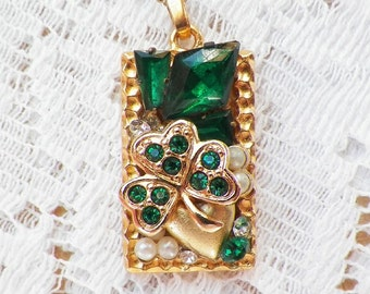 Emerald Green Shamrock Vintage Jewelry Pieces Collage / Montage Pendant / Necklace, Celtic, Clover, Faux Pearls, Rhinestones, OOAK