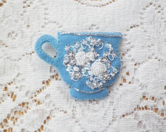 Light Blue, Silver and White Teacup / Tea Cup Shaped Felt Brooch / Pin / Broach, White Flowers, Floral, Roses, Flower, Wedgwood