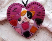 Calico Kitten Ornament - Made to Order Embroidered Fiber Art