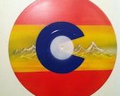 Colorado Flag - Reversed Colors -  Original Art on Vinyl Record