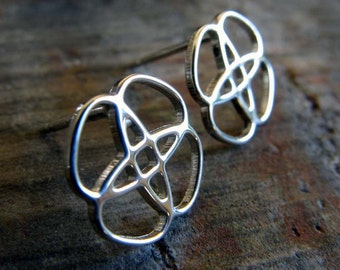 Celtic Knot sterling silver post earrings. Artisan studs. Interlocking braid symbol. 14k gold filled and solid 14k yellow gold available