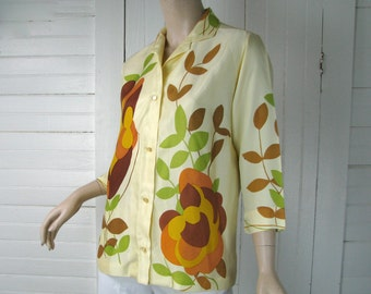 60's Psychedelic Blouse in Gold, Yellow, & Green- Mod- Medium- 1960's