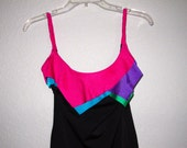 Vintage Swimsuit Neon Ruffle Bust One Piece Black SIRENA for i magnin, 80s Bathing Suit  Bright Colors Small Medium