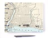 Niagara Falls Guestbook - Handmade Using Vintage Nautical Chart Map of Niagara Falls New York