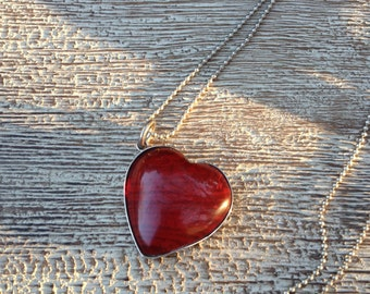 Heart Necklace Silver Heart Pendant and Necklace Red Glass Heart