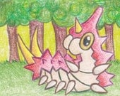 Original Art - Pokemon Drawing - ACEO - Wurmple. Pokemon Fan Art. Anime Art. Gaming Art. Bug Pokemon. Caterpillar. korlista. corlista. ATC.