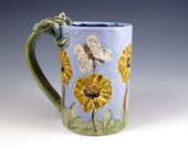 Yellow Daisy Unique Coffee Mug - Lavender Blue Pottery - Cat - Butterflies - Frog - 229