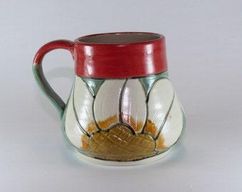 Handmade Pottery Mug, Red and Grey Coffee Mug, Handpainted Pottery mug.-SKU1311-4