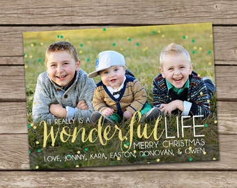 Photo Christmas Card : It Really Is A Wonderful Life Custom Photo Holiday Card Printable