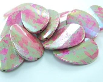 5 pcs 38mm x 26mm Oval Smooth  Beads ,  Plastic  Beads ,Charms of Necklace ,  Lucite Beads