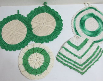 Vintage Potholders Set of 5 Green and White Crocheted