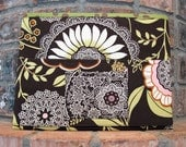 """Brown, Pink and Green """"Lacework""""  Magazine & Tract Bag, Tablet Sleeve, With Contact Card Pocket"""