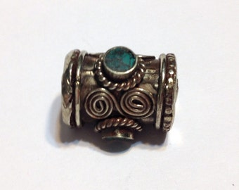 LARGE Hand made bead with 3 turquoise inlays
