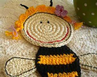 Honey Bee Coaster - Crochet Coaster - Bumble Bee Coaster - Bee Coaster - Gift for Beekeeper - Birthday Gift - HoneyBee Applique