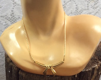 Vintage Gold Bow Necklace