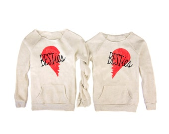Besties - Pair of Hand STENCILED Deep Scoop Neck Womens Pocket Sweatshirt in Heather Cream and Red - S M L XL