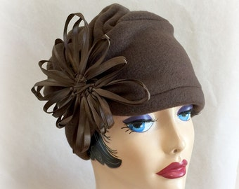 Warm Winter Hat, Elegant Womens Hat, Turban Cloche, Cosy Comfort, Evie, Brown Fleece, Available in Many Colours, Large Flower, Handmade USA