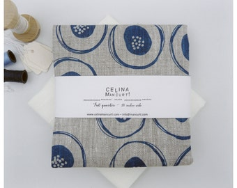 Linen Fat Quarter - Blue blossom hand printed by celina mancurti - Small projects and quilts - Free Shipping to USA