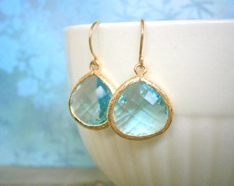 Aquamarine Earrings, Gold Earrings, Blue Earrings