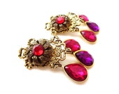 Stunning Pair of Intricately Decorative Gold tone Metal Purple & Red Colored Tear Drop Rhinestone Dangle Clip on Cocktail Earrings