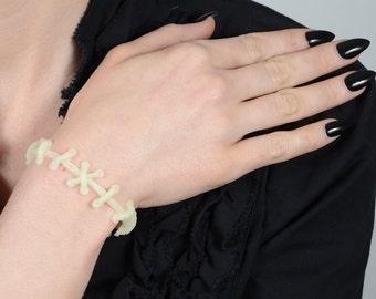 Frankenstein Zombie Bracelet- All Glow in Dark  stitches  bracelets- 2pc set