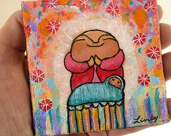 Jizo Painting - mini original - Jizo Says Bless This Child with Creativity