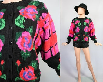 Vintage Floral Print Cardigan / 1980s Slouch Sweater / 80s Knit Top / Slouchy Jumper / 1990s Floral Revival Cardi / 90s Grunge / Small