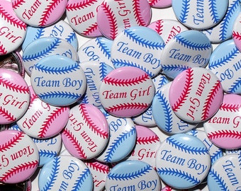 "50 Baby Shower 1"" Pinbacks - BASEBALL Team Girl Team Boy - Pink Blue - Gender Reveal Party"