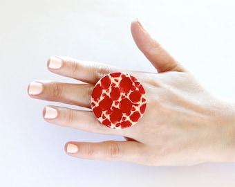 Ceramic Tribal Ring  - big bold oversized handmade statement tribal jewelry - AUSSIE ART - 1.8 inch