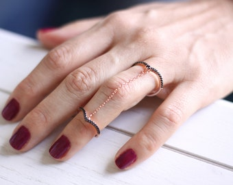Silver Chain Linked Double Ring /Gold Chain Chevron Ring  / Knuckle Ring / Double Silver Chevron Ring / Gold Double Chain Ring