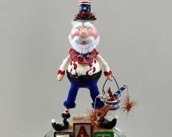 Fourth of July Patriotic Folk Art Uncle Sam  Americana Art Doll