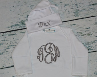 Personalized Layette Baby Gown and Cap set Monogrammed