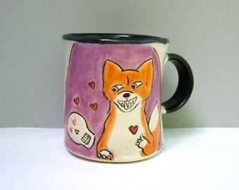 "Fox Mug, Purple and Orange with Red Hearts and Skulls, Coffee Mug or Tea Mug with Woodland Animals, Animal Pottery, ""Fox Loves Skully"""