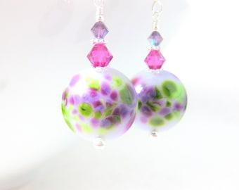 Purple & Pink Glass Earrings, Dangle Earrings, Lampwork Earrings, Spring Jewelry, Crystal Earrings, Spring Celebrations - Spring Peeps