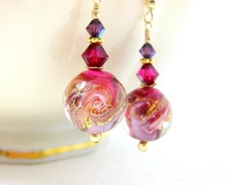 Purple Pink Gold Earrings, Murano Earrings, Wave Earrings, Glass Dangle Earrings, Drop Earrings Beach Earrings Murano Jewelry Round Earrings