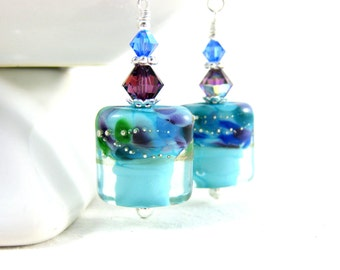Turquoise Blue Earrings, Colorful Glass Earrings, Rectangle Earrings, Lampwork Earrings, Modern Earrings, Dangle Earrings, Contemporary