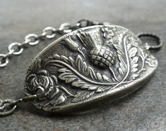 Silver Bracelet Scottish Thistle Outlander Jewelry