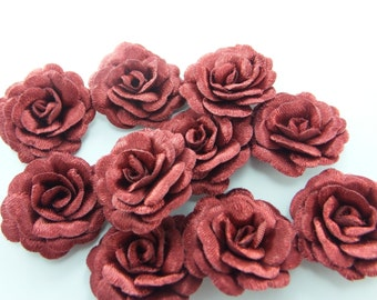 10 pcs  Satin Roses Mini  Flowers...Fabric Flowers..Burgundy