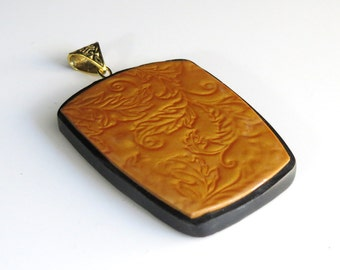 Polymer Clay Pendant, Golden Mica Shift Pendant, polymer Clay, Handmade Pendant, Gold, Jewelry, Mom Gift, Gift for Her